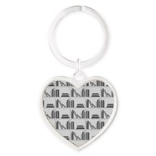 Books on Bookshelf, Gray. Heart Keychain