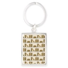 Books on Bookshelf, Beige. Portrait Keychain