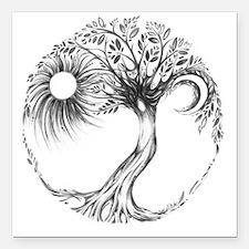 "Tree of Life Design Square Car Magnet 3"" x 3"""