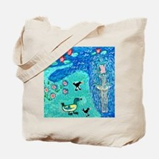 fountain with duck and moorhens Tote Bag