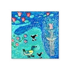 """fountain with duck and moor Square Sticker 3"""" x 3"""""""