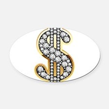 Gold Dollar Rich Oval Car Magnet