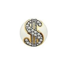 Gold Dollar Rich Mini Button