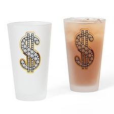 Gold Dollar Rich Drinking Glass