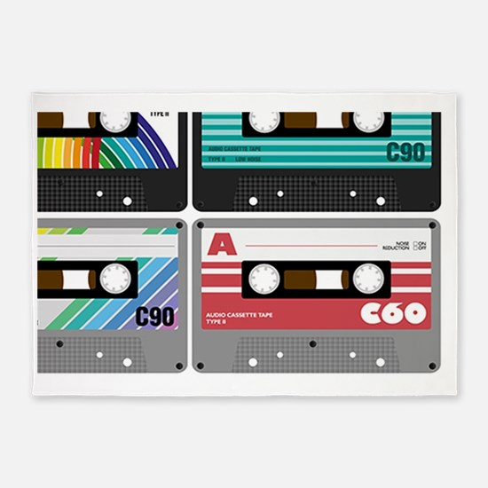 Audio Cassette Tapes 5'x7'Area Rug