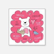 """Hugs + Kisses Square Sticker 3"""" x 3"""""""