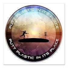 "Putt Plastic In Its Plac Square Car Magnet 3"" x 3"""