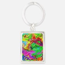 Bright Colorful Swirls. Portrait Keychain