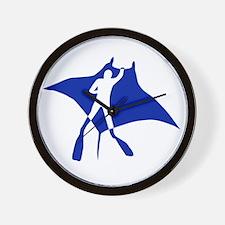 manta ray rochen scuba diving fish tauc Wall Clock