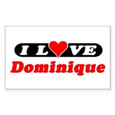 I Love Dominique Rectangle Decal