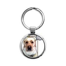 Lab dog twittering Round Keychain