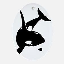 orca killer whale schwertwal wal scu Oval Ornament