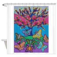 Butterfly Gathering Tree Of Life -  Shower Curtain