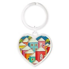 Little Village Heart Keychain