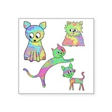 "Four Colorful Cats. Square Sticker 3"" x 3"""