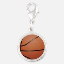 Basketball Silver Round Charm