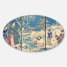 Laptop Hiroshige Garden-In-The-Snow Sticker (Oval)