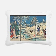Laptop Hiroshige Garden- Rectangular Canvas Pillow