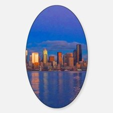 cityscapemoonmetal Sticker (Oval)