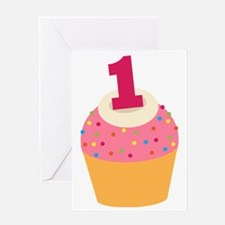 1st Birthday Cupcake Greeting Card