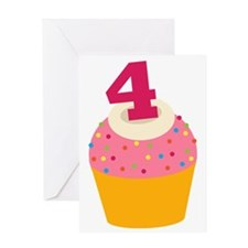 4th Birthday Cupcake Greeting Card