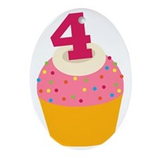 4th Birthday Cupcake Oval Ornament