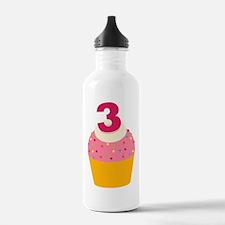 3rd Birthday Cupcake Water Bottle