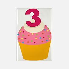 3rd Birthday Cupcake Rectangle Magnet