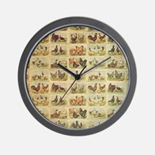 Vintage Barnyard Birds Wall Clock