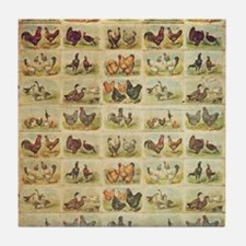 Vintage Barnyard Birds Tile Coaster