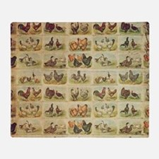 Vintage Barnyard Birds Throw Blanket