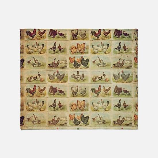 Vintage Barnyard Birds Throw Blanket