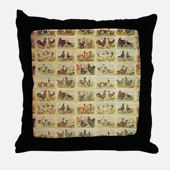 Vintage Barnyard Birds Throw Pillow