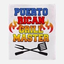 Puerto Rican Grill Master Apron Throw Blanket
