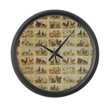 Vintage Barnyard Birds Large Wall Clock