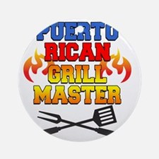 Puerto Rican Grill Master Apron Round Ornament