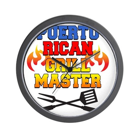 Puerto Rican Grill Master Apron Wall Clock