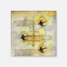 "Vintage Birds Square Sticker 3"" x 3"""