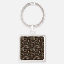 Steampunk Lettering Square Keychain