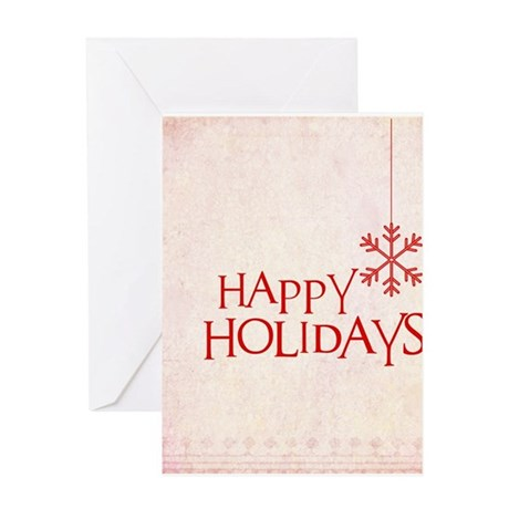 Red Happy Holidays Greeting Cards