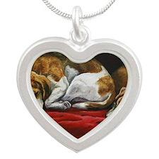 Sleeping Beagles Silver Heart Necklace