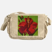 Vintage Red Hibiscus Messenger Bag