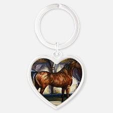 Bay Arabian Stallion with Backgroun Heart Keychain