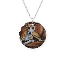 Whippet on Chair Necklace Circle Charm