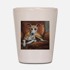 Whippet on Chair Shot Glass