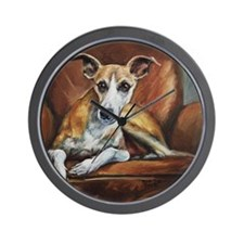 Whippet on Chair Wall Clock