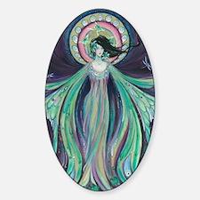 Luna Moth Art Nouveau Fairy Sticker (Oval)