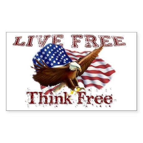 Live Free Think Free Sticker (Rectangle)