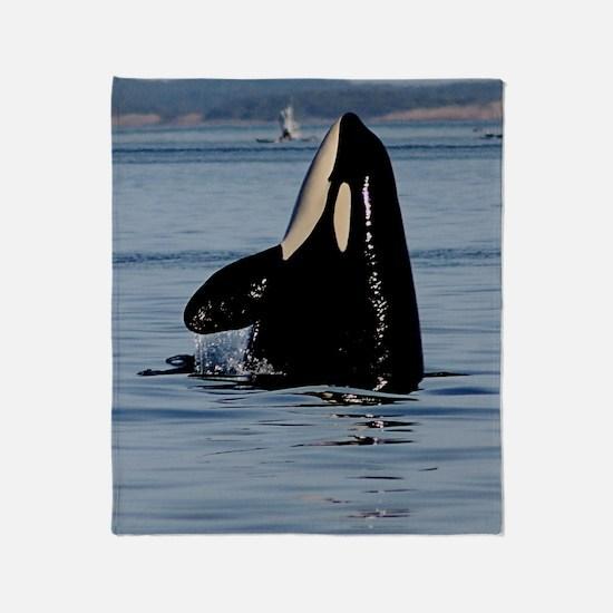 Spy Hopping Orca Throw Blanket