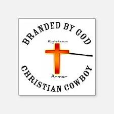 "Christian Cowboy Square Sticker 3"" x 3"""